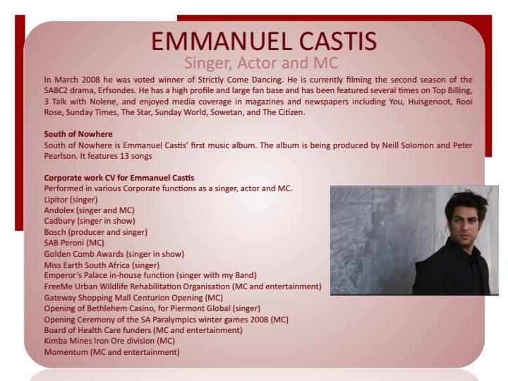 GSE present Emanuel Castis